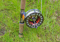 Close up of a fly fishing reel, Berwick-upon-Tweed, Northumberland.