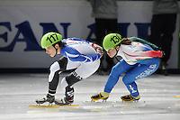 SCHAATSEN: DORDRECHT: Sportboulevard, Korean Air ISU World Cup Finale, 10-02-2012, Veronique Pierron FRA (117), Elena Viviani ITA (130), ©foto: Martin de Jong