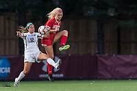 NEWTON, MA - AUGUST 29: Francesca Venezia #12 of Boston College and Lily Perryman #29 of Boston University battle for the ball during a game between Boston University and Boston College at Newton Campus Field on August 29, 2019 in Newton, Massachusetts.