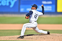 Asheville Tourists pitcher Alexander Martinez (28) delivers a pitch during a game against the Delmarva Shorebirds at McCormick Field on May 5, 2019 in Asheville, North Carolina. The Shorebirds defeated the Tourists 10-9. (Tony Farlow/Four Seam Images)