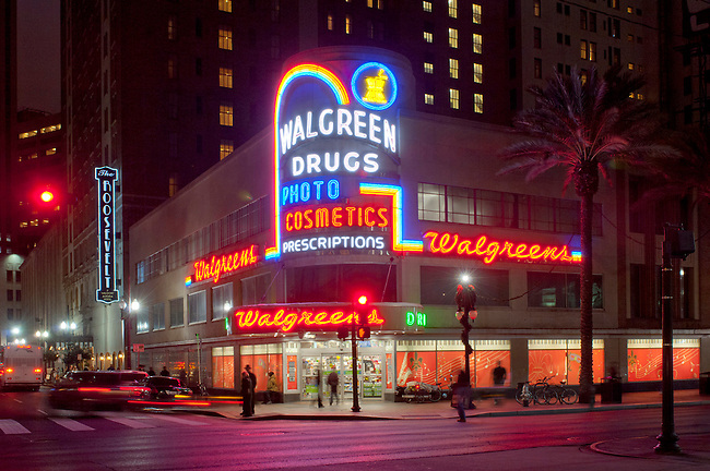 Louisiana, New Orleans, Canal Street, Historic Walgreens Drug Store, 1938 Neon Signage, Roosevelt Hotel