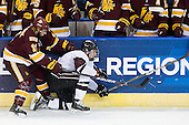 Travis Oleksuk (Duluth - 11), Josh Jooris (Union - 7) - The University of Minnesota-Duluth Bulldogs defeated the Union College Dutchmen 2-0 in their NCAA East Regional Semi-Final on Friday, March 25, 2011, at Webster Bank Arena at Harbor Yard in Bridgeport, Connecticut.