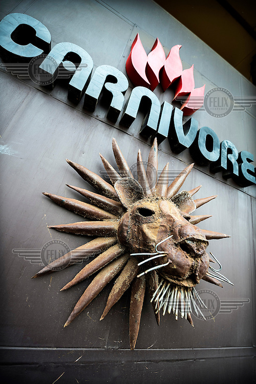 A lion motif at Carnivore, a famous restaurant known for serving exotic meat alongside the usual chicken and beef.