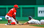 8 June 2008: Washington Nationals' infielder Willie Harris attempts to tag out the sliding Emmanuel Burriss during a game against the San Francisco Giants at Nationals Park in Washington, DC. The Nationals dropped the afternoon matchup to the Giants 6-3 in their third consecutive loss of the 4-game series...Mandatory Photo Credit: Ed Wolfstein Photo