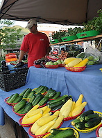 NWA Democrat-Gazette/FLIP PUTTHOFF<br /> MARKET VEGGIES<br /> Xiong Lao (cq) sets up his family's booth Saturday August 8 2015 at the Bentonville Farmers Market in downtown Bentonville. The market was busy early Saturday with customers trying to beat the heat. Produce, fresh prepared food, arts and crafts are available at the market.