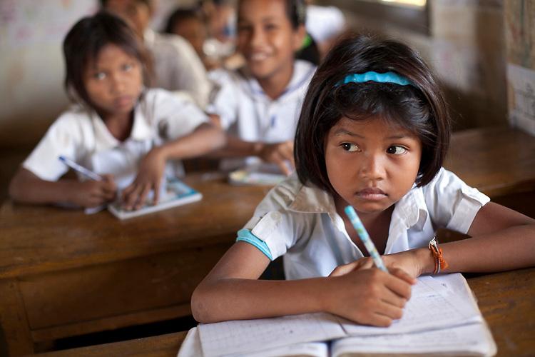 School children in a village school near Battambang, Cambodia. <br /> <br /> Photos &copy; Dennis Drenner 2013.