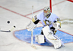 3 February 2009: Pittsburgh Penguins' goaltender Marc-Andre Fleury makes a save against the Montreal Canadiens at the Bell Centre in Montreal, Quebec, Canada. The Canadiens defeated the Penguins 4-2. ***** Editorial Sales Only ***** Mandatory Photo Credit: Ed Wolfstein Photo