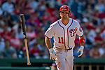 14 April 2018: Washington Nationals first baseman Ryan Zimmerman walks in the 8th inning against the Colorado Rockies at Nationals Park in Washington, DC. The Nationals rallied to defeat the Rockies 6-2 in the 3rd game of their 4-game series. Mandatory Credit: Ed Wolfstein Photo *** RAW (NEF) Image File Available ***