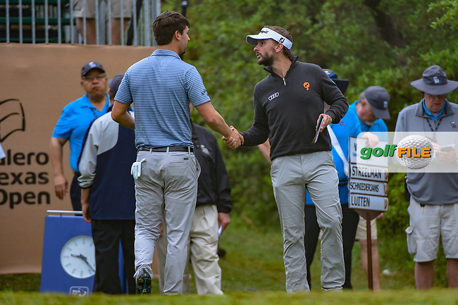 Joost Luiten (NLD) shakes hands with Ollie Schniederjans (USA) on the tee on 1 during day 3 of the Valero Texas Open, at the TPC San Antonio Oaks Course, San Antonio, Texas, USA. 4/6/2019.<br /> Picture: Golffile | Ken Murray<br /> <br /> <br /> All photo usage must carry mandatory copyright credit (© Golffile | Ken Murray)