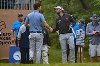Joost Luiten (NLD) shakes hands with Ollie Schniederjans (USA) on the tee on 1 during day 3 of the Valero Texas Open, at the TPC San Antonio Oaks Course, San Antonio, Texas, USA. 4/6/2019.<br /> Picture: Golffile | Ken Murray<br /> <br /> <br /> All photo usage must carry mandatory copyright credit (&copy; Golffile | Ken Murray)