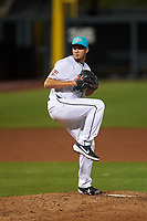 Salt River Rafters relief pitcher Jovani Moran (16), of the Minnesota Twins organization, during an Arizona Fall League game against the Mesa Solar Sox on September 19, 2019 at Salt River Fields at Talking Stick in Scottsdale, Arizona. Salt River defeated Mesa 4-1. (Zachary Lucy/Four Seam Images)