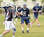 GER - Hannover, Germany, May 30: During the Men Lacrosse Playoffs 2015 match between HLC Rot-Weiss Muenchen (blue) and KKHT Schwarz-Weiss Koeln (weiss) on May 30, 2015 at Deutscher Hockey-Club Hannover e.V. in Hannover, Germany. Final score 5:6. (Photo by Dirk Markgraf / www.265-images.com) *** Local caption *** Maximilian Miegel #21 of HLC Rot-Weiss Muenchen
