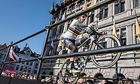 showman Peter Sagan (SVK/Bora-Hansgrohe) entertaining the huge crowds on the start podium at the (new) race start in Antwerpen<br /> <br /> 101th Ronde Van Vlaanderen 2017 (1.UWT)<br /> 1day race: Antwerp › Oudenaarde - BEL (260km)
