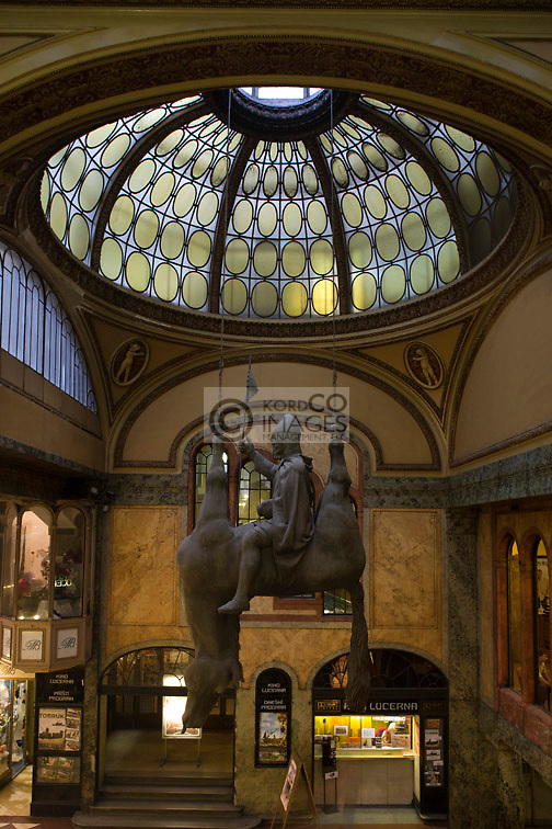 SAINT WENCESLAS HORSE SCULPTURE ( DAVID CERNY ) LUCERNA PASSAGE MALL PRAGUE CZECH REPUBLIC