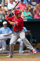 North Carolina State second baseman Logan Ratledge (6) at bat during Game 3 of the 2013 Men's College World Series between the North Carolina State Wolfpack and North Carolina Tar Heels at TD Ameritrade Park on June 16, 2013 in Omaha, Nebraska. The Wolfpack defeated the Tar Heels 8-1. (Andrew Woolley/Four Seam Images)