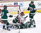 Jessica Gagner (Dartmouth - 9), Alex Carpenter (BC - 5), Erica Dobos (Dartmouth - 14), Lisa Berreman (Dartmouth - 12) - The Boston College Eagles defeated the Dartmouth College Big Green 4-3 on Sunday, October 23, 2011, at Kelley Rink in Conte Forum in Chestnut Hill, Massachusetts.