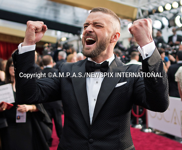 26.02.2017; Hollywood, USA: JUSTIN TIMBERLAKE<br /> attends The 89th Annual Academy Awards at the Dolby&reg; Theatre in Hollywood.<br /> Mandatory Photo Credit: &copy;AMPAS/NEWSPIX INTERNATIONAL<br /> <br /> IMMEDIATE CONFIRMATION OF USAGE REQUIRED:<br /> Newspix International, 31 Chinnery Hill, Bishop's Stortford, ENGLAND CM23 3PS<br /> Tel:+441279 324672  ; Fax: +441279656877<br /> Mobile:  07775681153<br /> e-mail: info@newspixinternational.co.uk<br /> Usage Implies Acceptance of Our Terms &amp; Conditions<br /> Please refer to usage terms. All Fees Payable To Newspix International