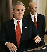 United States President George W. Bush, left, today announced his intention to nominate Michael Chertoff, right, of New Jersey, to be Secretary of Homeland Security.  He currently serves as a United States Circuit Judge for the Third Circuit Court of Appeals.  Judge Chertoff previously served as Assistant Attorney General for the Criminal Division at the Department of Justice.  As Assistant Attorney General, he helped trace the terrorist attacks to the al-Qaida network after September 11 and increased information sharing within the Federal Bureau of Investigation (FBI). Prior to joining the Bush Administration, Judge Chertoff was a Partner in law firm of Latham & Watkins.  From 1994 to 1996, he served as Special Counsel for the United States Senate Whitewater Committee.  In 1990, Judge Chertoff was appointed by United States President George H. W. Bush to be United States Attorney for the District of New Jersey.  He began his career in public service in 1983, in the United States Attorney's Office for the Southern District of New York.  Judge Chertoff received his bachelor's degree from Harvard University and his Juris Doctorate (J.D.) from Harvard Law School.<br /> Credit: Mark Wilson / Pool via CNP