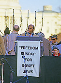 "United States Representative John Lewis (Democrat of Georgia) speaks at the ""Campaign to the Summit"", a march on Washington, D.C. supporting freedom for Jews living in the Soviet Union, on Sunday, December 6, 1987.  200,000 people marched to focus attention on the repression of Soviet Jewry, was scheduled a day before United States President Ronald Reagan and Soviet President Mikhail Gorbachev began a 2 day summit in Washington where they signed the Intermediate Range Nuclear Forces (INF) Treaty.<br /> Credit: Ron Sachs / CNP"