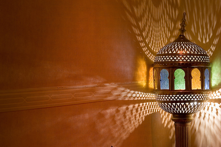 An arab lamp in a tea shop in Granada, Spain