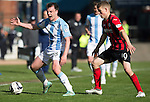 Dundee v St Johnstone...25.04.15   SPFL<br /> Paul McGowan playing today, his first game wearing his electronic tag (on his left ankle) after being convicted of assaulting a police officer and being given a 7am to 7pm home curfew.<br /> Picture by Graeme Hart.<br /> Copyright Perthshire Picture Agency<br /> Tel: 01738 623350  Mobile: 07990 594431