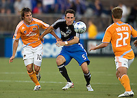 22 May 2008: Ryan Cochrane of the Earthquakes controls the ball away from Franco Caraccio of the Dynamo during the first half of the game at Buck Shaw Stadium in San Jose, California.   San Jose Earthquakes and Houston Dynamo are tied 0-0 at halftime.
