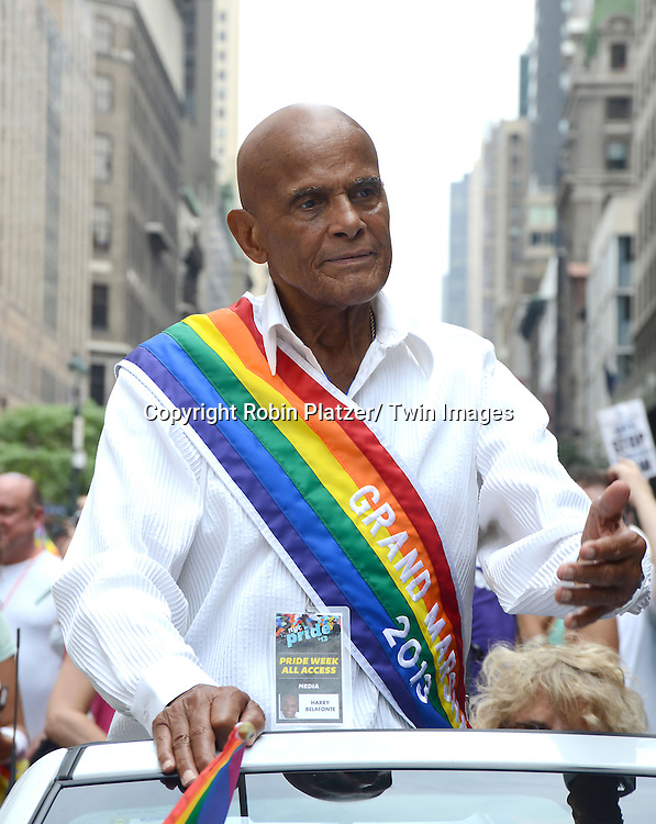 Harry Belafonte attends the NYC 2013 Gay Pride Parade on June 30, 2013 on Fifth Avenue in New York City. The 3 Grand Marshalls were Harry Belafonte, Edie Windsor and <br /> Earl Fowlkes.