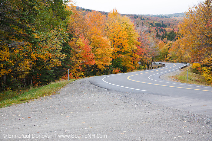 Dixville Notch - Route 26 during the autumn months in Dixville, New Hampshire USA.
