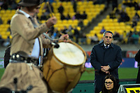 Argentina ambassador Fausto Lopez Crozet watches the halftime entertainment during the Super Rugby match between the Hurricanes and Jaguares at Westpac Stadium in Wellington, New Zealand on Friday, 17 May 2019. Photo: Dave Lintott / lintottphoto.co.nz
