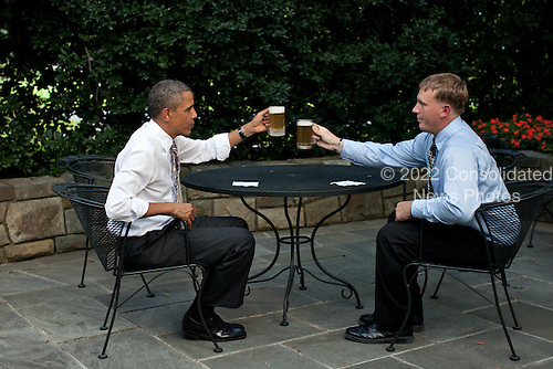 United States President Barack Obama offers a toast to Dakota Meyer on the patio outside of the Oval Office, September 14, 2011. The President presented Meyer with the Medal of Honor September 15, 2011, during a ceremony at the White House. .Mandatory Credit: Pete Souza - White House via CNP