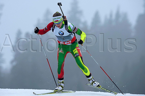 22.03.2014  Oslo, Norway The E.ON IBU World Cup Biathlon 2014  Darya Domracheva of Belarus in action during the ladies 10 kilometre  pursuit at The EON IBU World Cup Biathlon Final from Holmenkollen in Oslo, Norway.