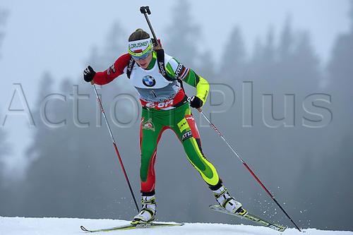 22.03.2014  Oslo, Norway The E.ON IBU World Cup Biathlon 2014  Darya Domracheva of Belarus in action during the ladies 10 kilometre  pursuit at The EON IBU World Cup Biathlon Final from Holmenkollen in Oslo, Norway.