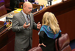 Nevada Assembly Republicans Ira Hansen and Jill Dickman talk on the Assembly floor at the Legislative Building in Carson City, Nev., on Tuesday, April 14, 2015.<br /> Photo by Cathleen Allison