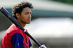 30 June 2007: Lowell Spinners infielder Luis Segovia awaits his turn in the batting cage prior to a game against the Vermont Lake Monsters at Historic Centennial Field in Burlington, Vermont. The Spinners defeated the Lake Monsters 8-4 in the last game of their 3-game, NY Penn-League series...Mandatory Photo Credit: Ed Wolfstein Photo