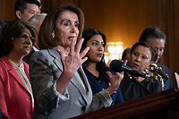 Speaker of the House Nancy Pelosi, Democrat of California, speaks during a press event in the Rayburn Room of the U.S. Capitol in Washington, D.C. on March 12, 2019. <br /> CAP/MPI/RS<br /> &copy;RS/MPI/Capital Pictures