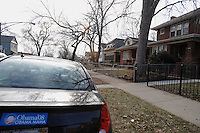 A bumper sticker in support of Barack Obama is seen on the block of South Euclid that Michelle Obama grew up on in Chicago, Illinois on January 2, 2008.  Michelle Obama, wife of U.S. President Elect Barack Obama, was raised in a modest bungalow in the South Shore neighborhood on the South Side of Chicago.