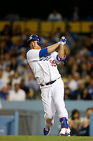Hyun-Jin Ryu #99 of the Los Angeles Dodgers bats against the Colorado Rockies at Dodger Stadium on April 30, 2013 in Los Angeles, California. (Larry Goren/Four Seam Images)