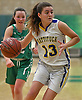 Liz Dwyer #13 of Mattituck looks to get to the net during the NYSPHSAA varsity girls basketball Class B Southeast Regional Final against Irvington at SUNY Old Westbury on Thursday, March 9, 2017. Irvington defeated Mattituck by a score of 62-37.