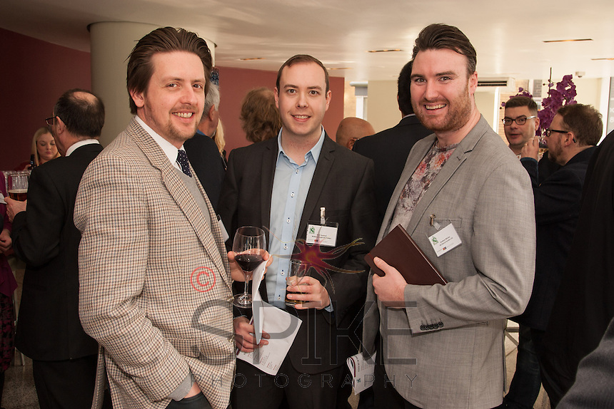 Matt Seaford of Midland Regional Printers is flanked by Gary Allen (left) and James Fay both from All About Tourism