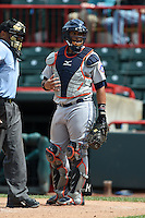 Binghamton Mets catcher Xorge Carrillo (44) during a game against the Erie Seawolves on July 13, 2014 at Jerry Uht Park in Erie, Pennsylvania.  Binghamton defeated Erie 5-4.  (Mike Janes/Four Seam Images)
