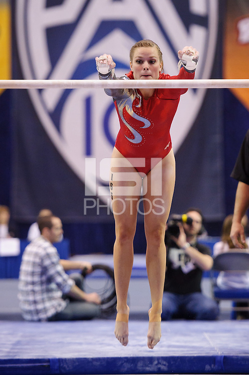 LOS ANGELES, CA - March 19, 2011:  Stanford's Shelley Alexander competes on the uneven bars during the Pac-10 Championship at UCLA's Pauley Pavilon.   Stanford placed fourth in the competition.