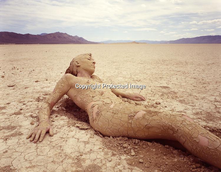 Nude women in desert