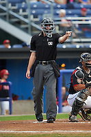 Umpire Brandin Sheeler during a game between the Auburn Doubledays and Batavia Muckdogs on August 29, 2015 at Falcon Park in Auburn, New York.  Auburn defeated Batavia 11-10 in ten innings.  (Mike Janes/Four Seam Images)