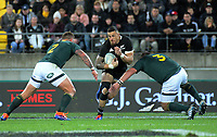 NZ's Sonny Bill Williams takes the ball up during the Rugby Championship rugby union match between the New Zealand All Blacks and South Africa Springboks at Westpac Stadium in Wellington, New Zealand on Saturday, 27 July 2019. Photo: Dave Lintott / lintottphoto.co.nz