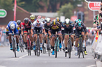Picture by Allan McKenzie/SWpix.com - 04/09/2017 - Cycling - OVO Energy Tour of Britain - Stage 2 Kielder Water to Blyth - Dimension Data's Edvald Boasson-Hagen & Sky's Elia Viviani lead the sprint to the finish line.