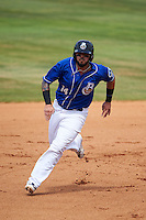 Biloxi Shuckers first baseman Nick Ramirez (14) running the bases during a game against the Birmingham Barons on May 24, 2015 at Joe Davis Stadium in Huntsville, Alabama.  Birmingham defeated Biloxi 6-4 as the Shuckers are playing all games on the road, or neutral sites like their former home in Huntsville, until the teams new stadium is completed in early June.  (Mike Janes/Four Seam Images)