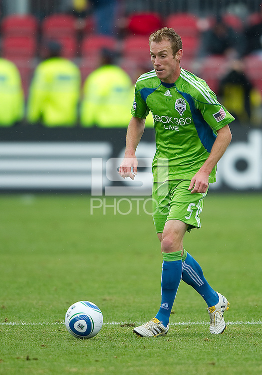 25 April 2010: Seattle Sounders defender Tyson Wahl #5 in action during a game between the Seattle Sounders and Toronto FC at BMO Field in Toronto..Toronto FC won 2-0....