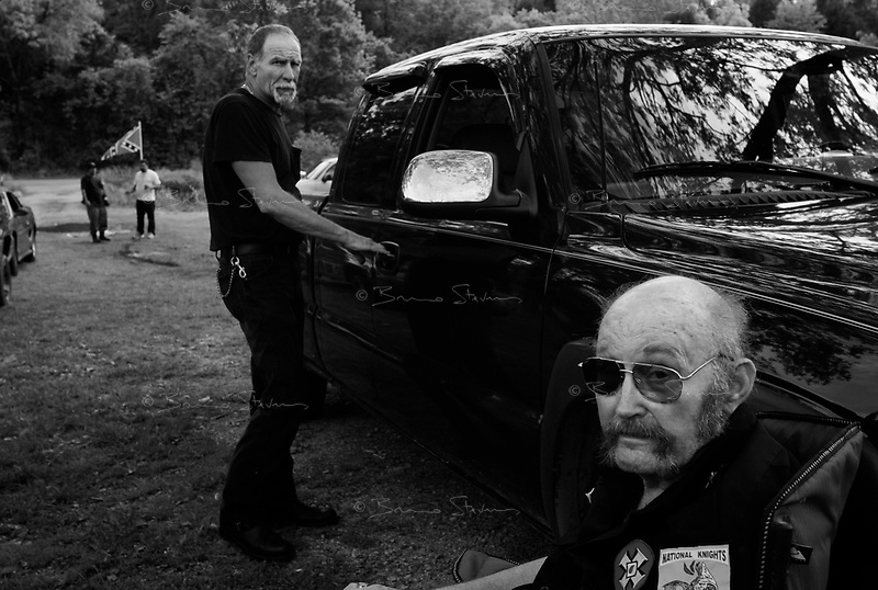 "near Prospect, TN, USA , May 9th 2009.Ray Larsen, ""International Imperial Wizard"" of the KKK.. ""Cross Burning"" is one of the most well known rituals of the Ku Klux Klan, it has to take place on private ground, as it it is theoretically forbidden. Since President Obama was elected on Nov. 4th, 2008, the Ku Klux Klan has seen new memberships applications being multiplied by 6 compared to the previous year!"