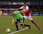 Matt Done of Sheffield Utd gets the ball past Victor Nirennold of Fleetwood Town  - English League One - Fleetwood Town vs Sheffield Utd - Highbury Stadium - Fleetwood - England - 5rd March 2016 - Picture Simon Bellis/Sportimage