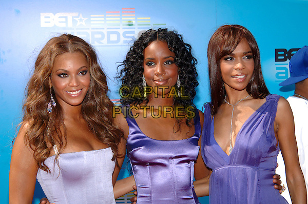 DESTINY'S CHILD.BEYONCE KNOWLES, KELLY ROWLAND & MICHELLE WILLIAMS .At the 2005 BET Awards held at Kodak Theatre, .Hollywood, CA, USA, 28 June 2005..half length purple lilac dress top satin silk .Ref: ADM.www.capitalpictures.com.sales@capitalpictures.com.©Jacqui Wong/AdMedia/Capital Pictures.